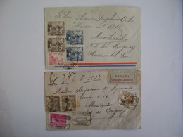 SPAIN / ESPANA - 2 LETTERS SENT FROM MONTILLA (CORDOBA) TO MONTEVIDEO (URUGUAY) IN THE STATE - 1931-50 Covers