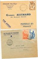 COLONIES GABON LOT DE 2 X LETTRE A ETUDIER - Cartas
