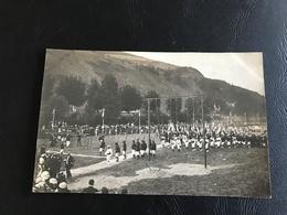 CARTE PHOTO TARARE Fete Gymnique Des 29 Et 30 Juin 1912 - Groupe Chasseurs Alpins Devant Les équipes & Agrès - Tarare