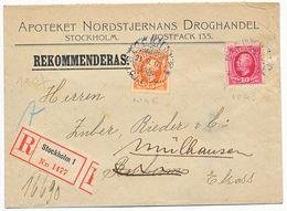 SUEDE ENV LETTRE RECOMMANDEE 1907 STOCKHOLM AVEC N°43 ET 46 => ELSASS ALSACE - Cartas