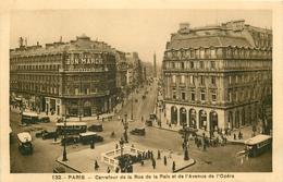 WW 75 PARIS 2 X Cpa Monuments. Le Métropolitain Carrefour Rue De La Paix & Avenue Opéra 1936 Et Place Concorde 1937 - France