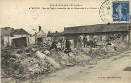 Les Ardennes Dévastées AVANCON  Rue De L' Eglise Incendiée Par Les Allemands Le 11 Octobre 1918 RV - Francia