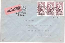 URGENZA CON 3 X £25 AMERIGO VESPUCCI - 1946-60: Marcophilie