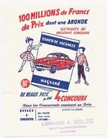 Buvard 10.4 X 13.4 Cahiers De Vacances MAGNARD Concours Automoblie Aronde Simca  Cachet De La Librairie A. Bolzé à * - Papeterie