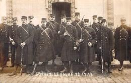 CARTE PHOTO DE SOLDATS  DE LA REPRESSION DES GREVES ET MANIFESTATIONS   DU HAVRE 1913 - Uniformes
