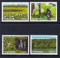 2008 Tanzania Botanic Gardens Trees Butterflies Complete Set Of 4 MNH - Tanzania (1964-...)
