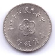TAIWAN 1975: 1 New Dollar, Y# 536 - Taiwán