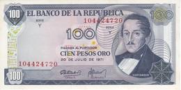 BILLETE DE COLOMBIA DE 100 PESOS DE ORO DEL AÑO 1971 SIN CIRCULAR - UNCIRCULATED   (BANK NOTE) - Colombia