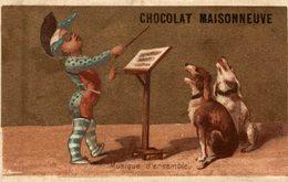 CHROMO CALENDRIER DE 1887 CHOCOLAT MAISONNEUVE MUSIQUE D'ENSEMBLE - Cioccolato