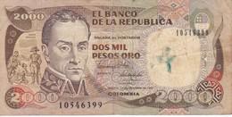 BILLETE DE COLOMBIA DE 2000 PESOS DE ORO DEL AÑO 1990 (BANK NOTE) - Colombie