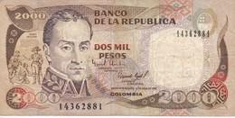 BILLETE DE COLOMBIA DE 2000 PESOS DE ORO DEL AÑO 1993 (BANK NOTE) - Colombie
