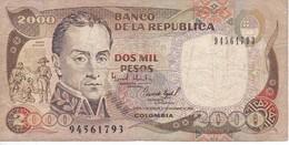 BILLETE DE COLOMBIA DE 2000 PESOS DE ORO DEL AÑO 1994 (BANK NOTE) - Colombie