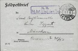German Feldpost WW1: Feldintendantur, I. Bay. Reserve Division P/m 1.7.1915 By KB 1. Res.Div - Letter  (G111-33) - Militaria