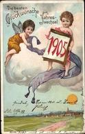 Lithographie Glückwunsch Neujahr, Engel Auf Einer Wolke, Kalender, Jahreszahl 1905 - New Year