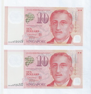 "Singapore Portrait 2 X $10 Dollars Running Number ""AA"" Prefix Banknote  3AA672449/ 50  (#169E) UNC - Singapore"