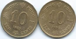 Hong Kong - Elizabeth II - 10 Cents - 1982 - KM49 & 1985 - KM55 - Hongkong