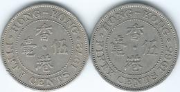 Hong Kong - 50 Cents - 1965 - KM30.1 (Security Edge) & 1972 - KM34 - Hongkong