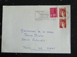 THOUARS - DEUX SEVRES - FLAMME CENTRE TOURISTIQUE ET GASTRONOMIQUE ANJOU POITOU TOURAINE SUR SABINE ET MARIANNE BEQUET - Marcophilie (Lettres)