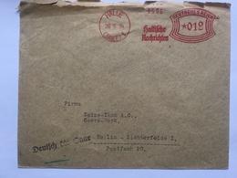 GERMANY 1934 Cover With Halle Meter Mark 12 Pf Rate - `Deutsch Die Saar` Cachet - Deutschland