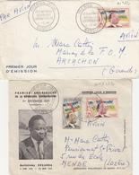 CENTRAFRICAINE ENV X 2 1960 PREMIER JOUR DES N° 1, 2 ET 12 - Centraal-Afrikaanse Republiek