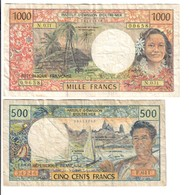 Institut D'emission D'outre Mer 1000 + 500 FRANCS  LOTTO 2885 - 1871-1952 Antichi Franchi Circolanti Nel XX Secolo