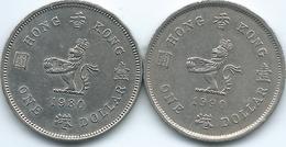 Hong Kong - Elizabeth II - Dollar - 1980 - KM43 & 1990 - KM63 - Hongkong