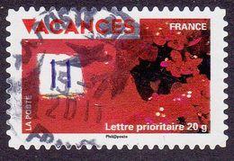 327 France 2009 Oblitéré Autoadhésif  Timbres Pour Vacances Mur Rouge Avec Fleurs - Adhésifs (autocollants)