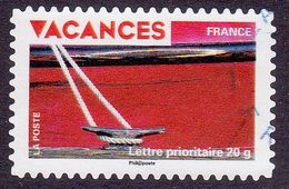 328 France 2009 Oblitéré Autoadhésif  Timbres Pour Vacances Détail Coque De Bateau Rouge - Adhésifs (autocollants)