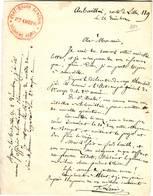 GUERRE DE 1870 , Lettre Aubervilliers Avec Cachet ETAT MAJOR GENERAL 2 Eme ARMEE , TTB TEXTE - Autographes