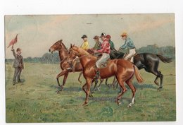 CHEVAL * CHEVAUX * HIPPISME *JOCKEYS * DRAPEAU * Carte Gaufrée & Dorée - Paarden