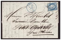 Timbre N° 60 Sur Lettre De PARIS Pour LE PETIT QUEVILLY Du 29.2.76 Obl Etoile Bleue De PARIS - Poststempel (Briefe)