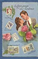 """CPSM  """"Le Langage Des Timbres"""" Années 1960 Couple En Portrait ,roses - Autres"""