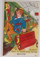 Cap FERRET (33) CPA - Carte à Système, Train, Valise, Gare, Voyageur, Touriste, Parapluie, Sabot - France
