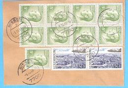 Poste Aérienne YT21 Luxair-paire -1968 + Yt 780-Grand Duc Jean-1971 Bloc De 8 +1 Timbre-Cachet De Bissen 1986-Fragment - Poste Aérienne