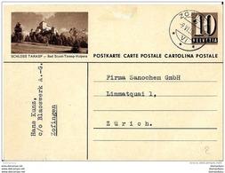 """32-65 - Entier Postal Avec Illustration """"Schloss Tarasp - Cachet à Date De Zofingen 1950 - Postwaardestukken"""