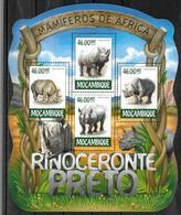 MOZAMBIQUE  Feuillet  N° 6506/09  * *  ( Cote 17e )  Rhinoceros Noir - Rhinocéros