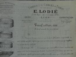 CATALOGUE TARIF CRIBLE ET TAMIS GRILLAGE FER ETAME  E LODIE 234 RUE DE CREQUI LYON VERS 1880 - 1800 – 1899