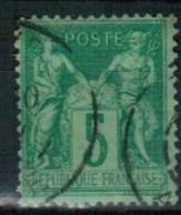 A1-42 - N°75 Obl - Sage Type II - VARIETE - Point Blanc Après T De POSTE - 1876-1898 Sage (Tipo II)