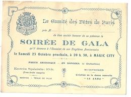 Carte D'Invitation Soirée De Gala Magic City Parc Attraction Paris Dancing 20 ème Anniversaire Comité Des Fêtes De Paris - Biglietti D'ingresso