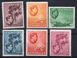 SEYCHELLES/1938-41/MH/SC#125, 127, 129b, 131, 133-134/KING EDWARD VII / TURTLE/ PALM TREE / COCONUT / INCOMPLET SET - Seychellen (...-1976)