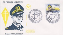 Enveloppe  FDC  1er  Jour   SAINT  PIERRE  ET  MIQUELON    Commandant   Jacques   PEPIN   LEHALLEUR   2001 - FDC