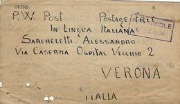 BIGLIETTO PRIGIONIERI POW CAMP 309 KASSASSIN EGITTO 1943 VERONA - Posta Militare (PM)
