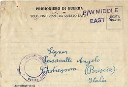 CARTOLINA PRIGIONIERI POW CAMP 307 FAYED EGITTO 1943 CASTREZZONE - Posta Militare (PM)