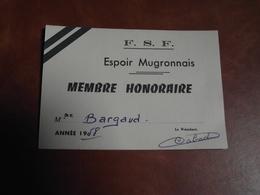 Carte Membre Honoraire , FSF, Espoir MUGRONNAIS, 1958 - Publicités