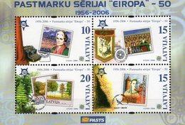 CEPT Sicherheitszähnung Lettland Block 21 ** 2€ Bloc Stamps On Stamp S/s Sheet Bf Latvija 50 Years EUROPA 1956-2006 - 2006