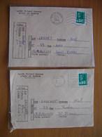 Réunion : Deux Lettres Du Lycée Rolland Garros Du Tampon Avec Oblitérations Mécaniques Différentes  (1976 Et 1977) - Réunion (1852-1975)
