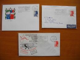 Réunion : Trois Lettres Au Départ De Paris Avec Flammes Promotionnelles Différentes  Pour L'Ile - Réunion (1852-1975)
