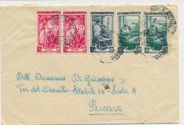 ITALIA AL LAVORO REGIONI D'ITALIA LETTERA PLURIPORTO TRICOLORE 2X35+5+2X10 - 6. 1946-.. República