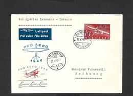 Vol Spécial Lausanne - Locarno Du 22/05/1946 - First Flight Covers