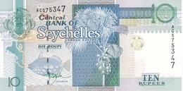 BILLETE DE SEYCHELLES DE 10 RUPEES DEL AÑO 1998 SIN CIRCULAR - UNCIRCULATED  (BANKNOTE) SEASHELL - TURTLE - Seychellen